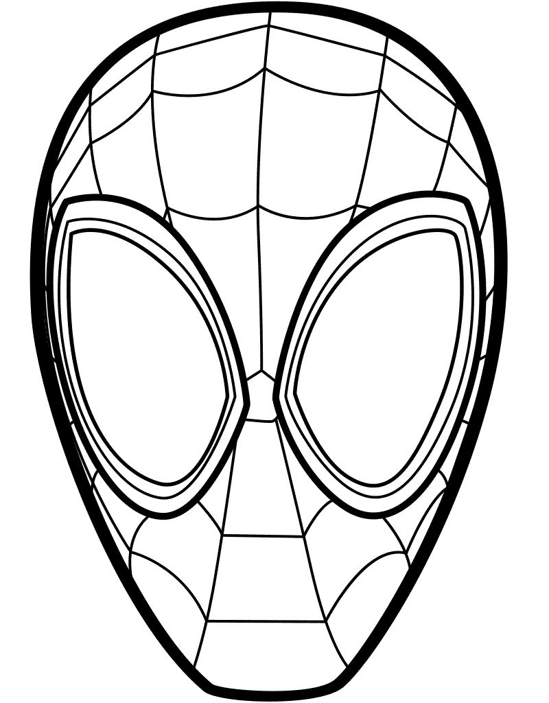 Spider Man Into The Spider Verse Mask Coloring Page
