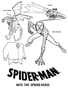 Spider Man Into the Spider Verse Villains Coloring Page