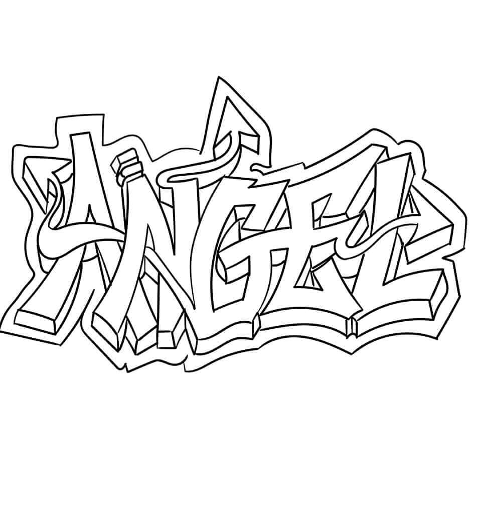 Angel graffiti coloring page