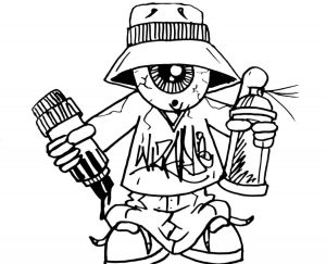 Graffiti Artist Coloring Page