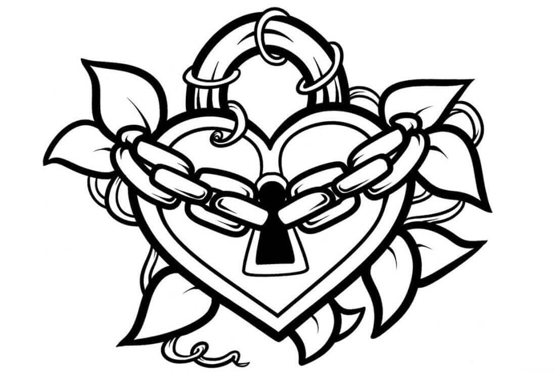 Heart Graffiti coloring page
