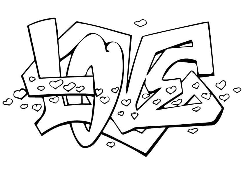 Love Graffiti coloring page