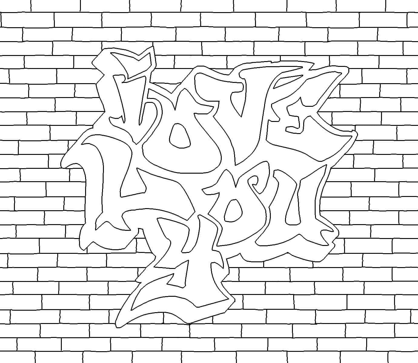 Love Graffiti colouring page