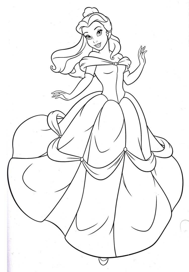 Belle Disney Princess Coloring Pages
