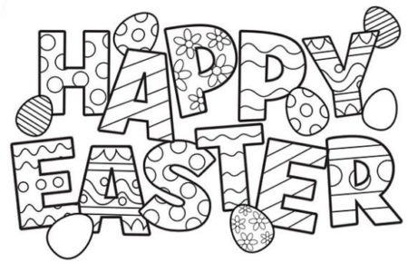 Black And White Happy Easter Coloring Pages