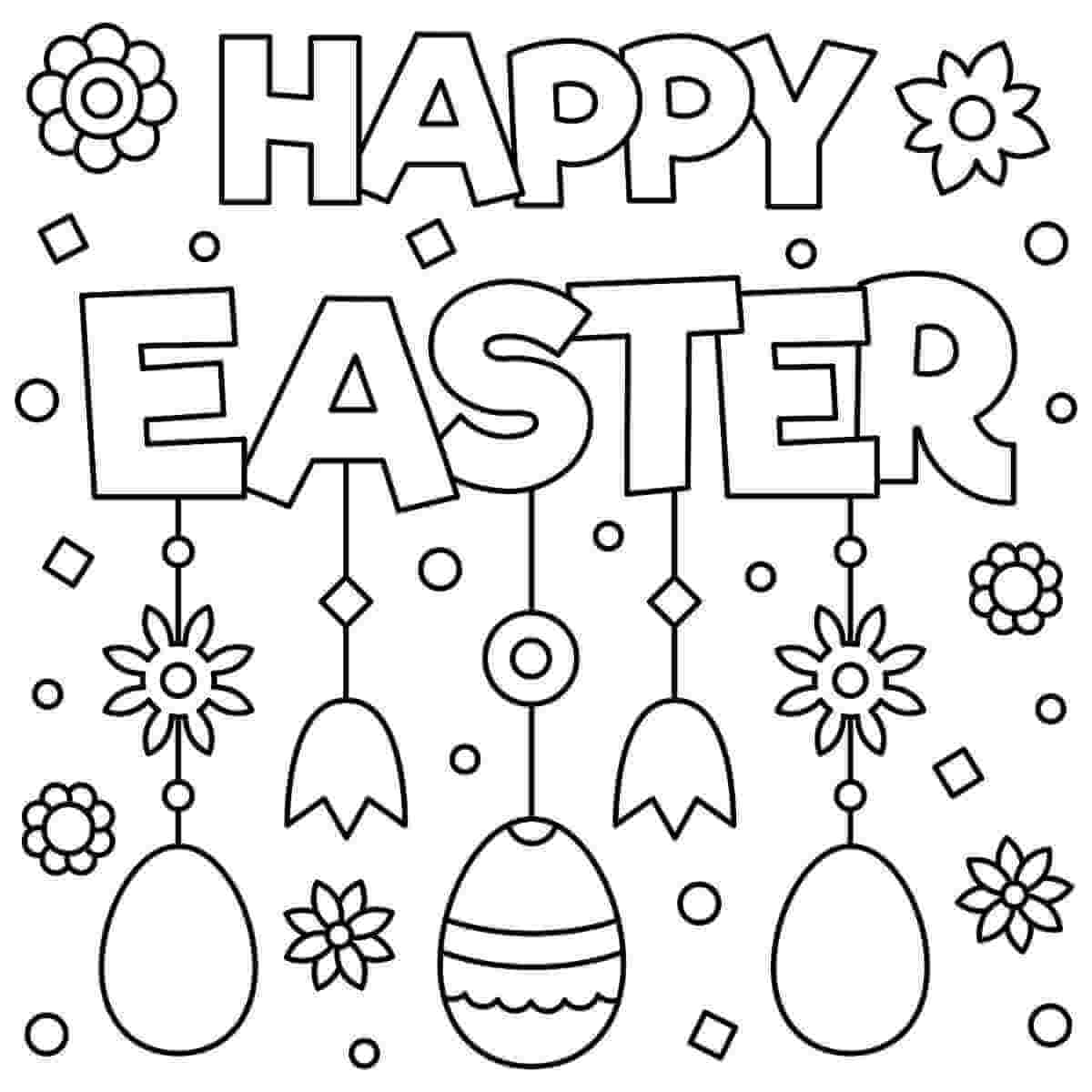 Happy Easter Wording Coloring Pages