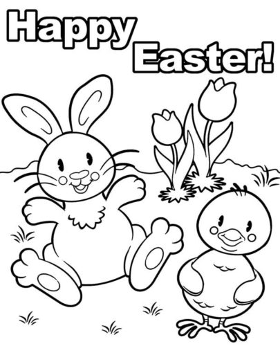 Printable Happy Easter Coloring Page